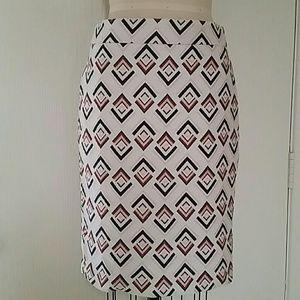 Ann Taylor Geometric Jaquard Pencil Skirt 6